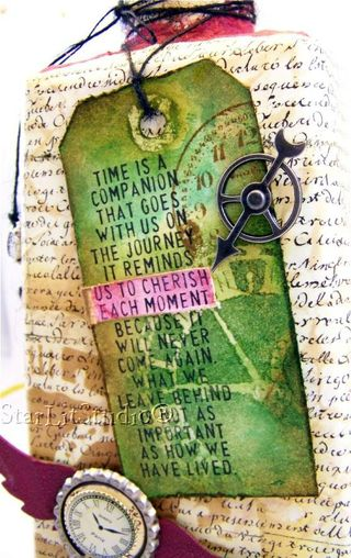 Altered tequila bottle tag closeup