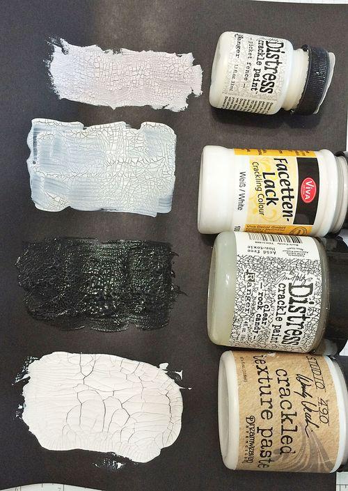 White crackle dry on black