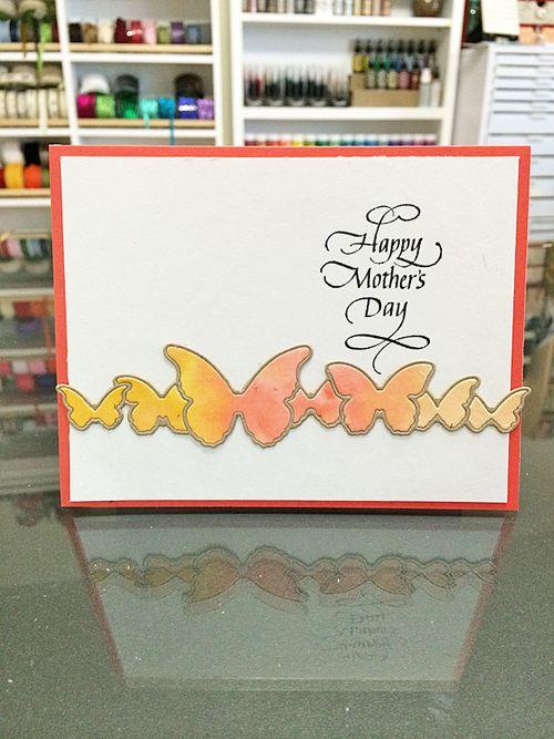 Moms day card watercolor butterflies