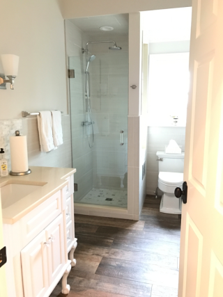 Fabulous Lights off in this photo That shower would be dark dark dark without the wall window cutout Behold the power of planning